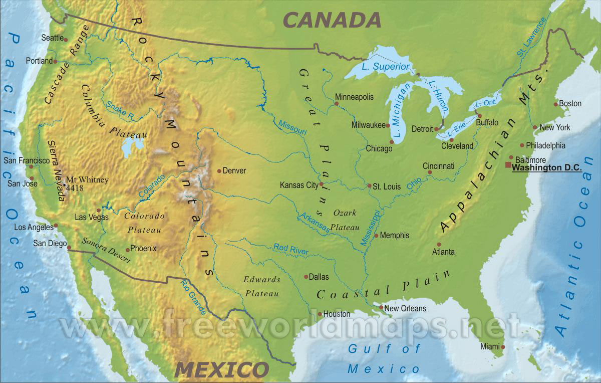 Geography Map Of The United States Us Geography Map   CYNDIIMENNA
